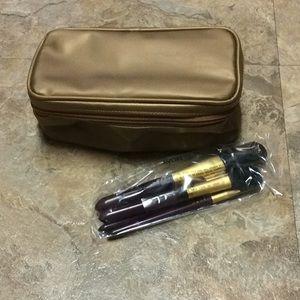 🦋Bronze metallic Avon makeup bag w/ brushes NIB!